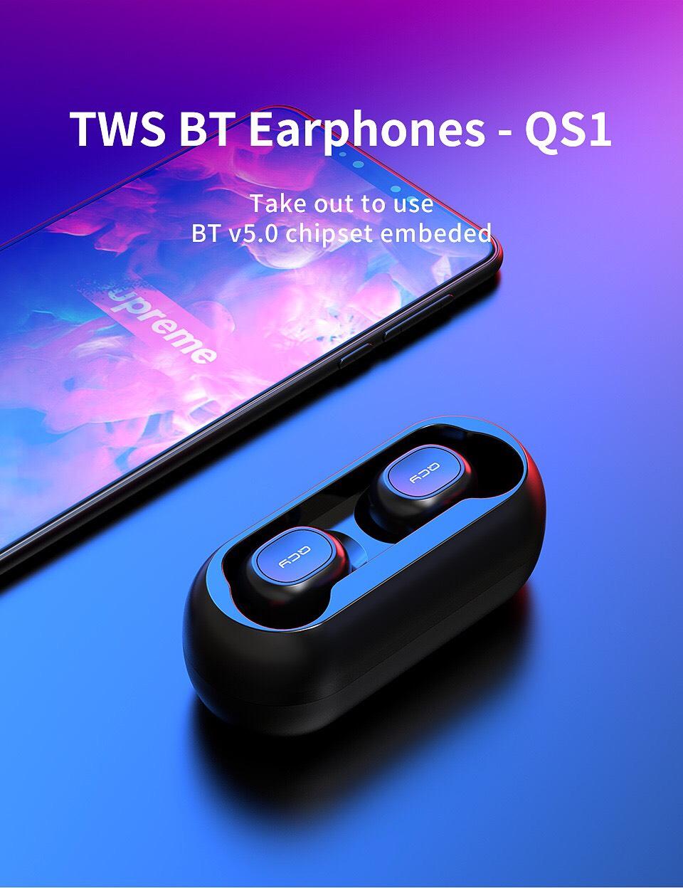 Tai Nghe Bluetooth 5.0 Không Dây QCY-T1 có Dock Tự Sạc Kèm Túi Đựng - Hàng Nhập Khẩu