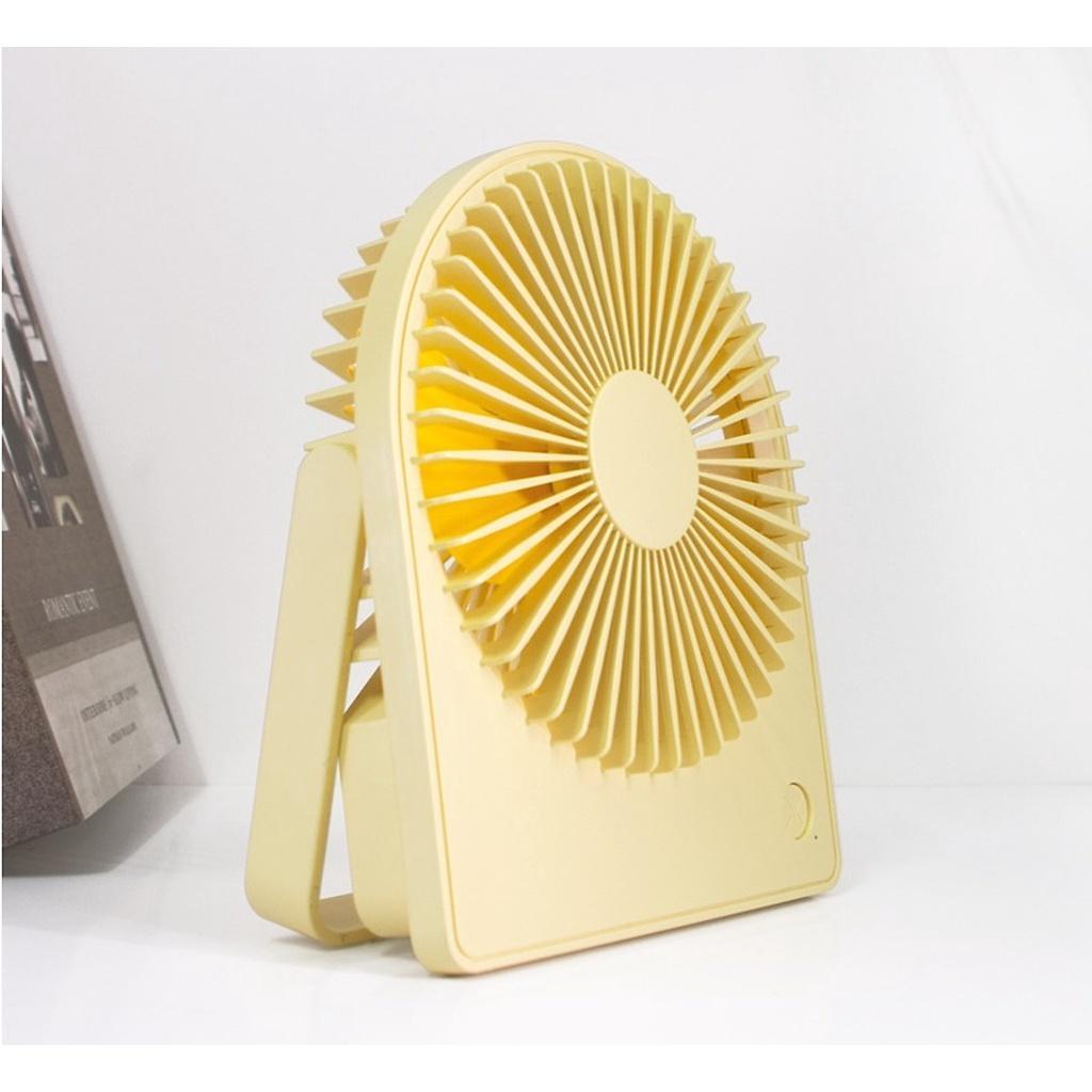 Quạt tích điện văn phòng 1518 pin 1200mAh, có giá đỡ để bàn tiện lợi, có đèn sáng ban đêm