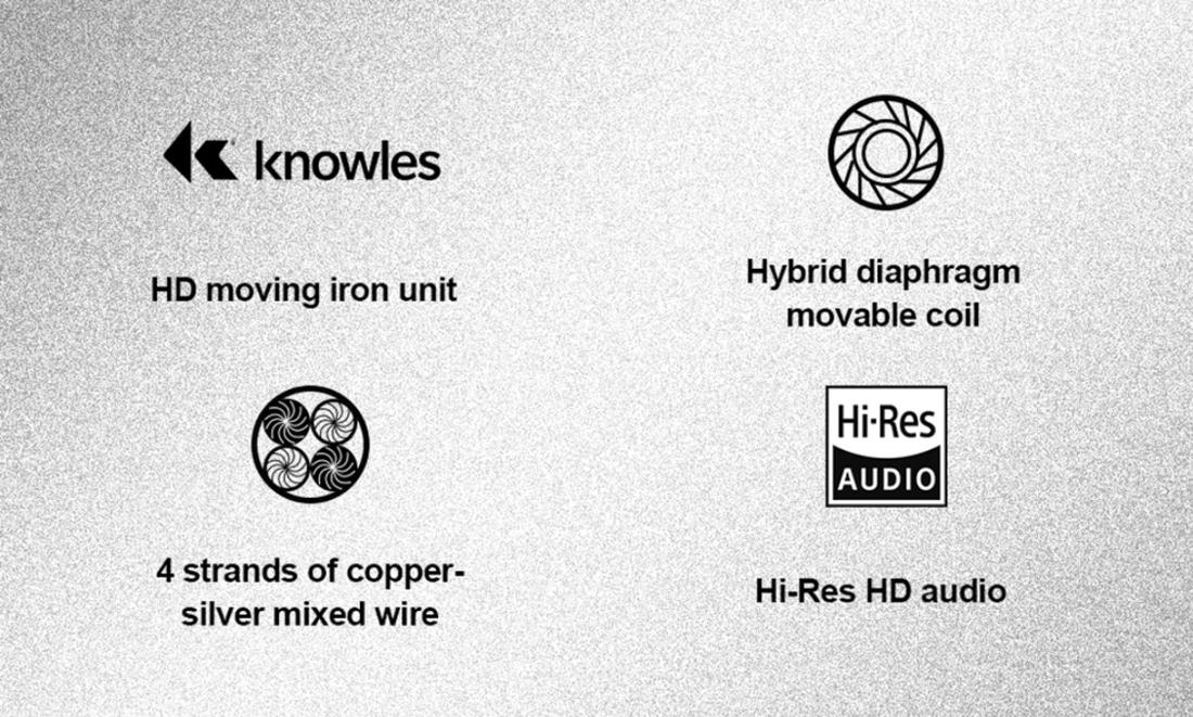 Tai nghe Hires cao cấp Whizzer HE03, Công nghệ Hybrid, Driver BA chất lượng cao của Knowles - Hàng chính hãng