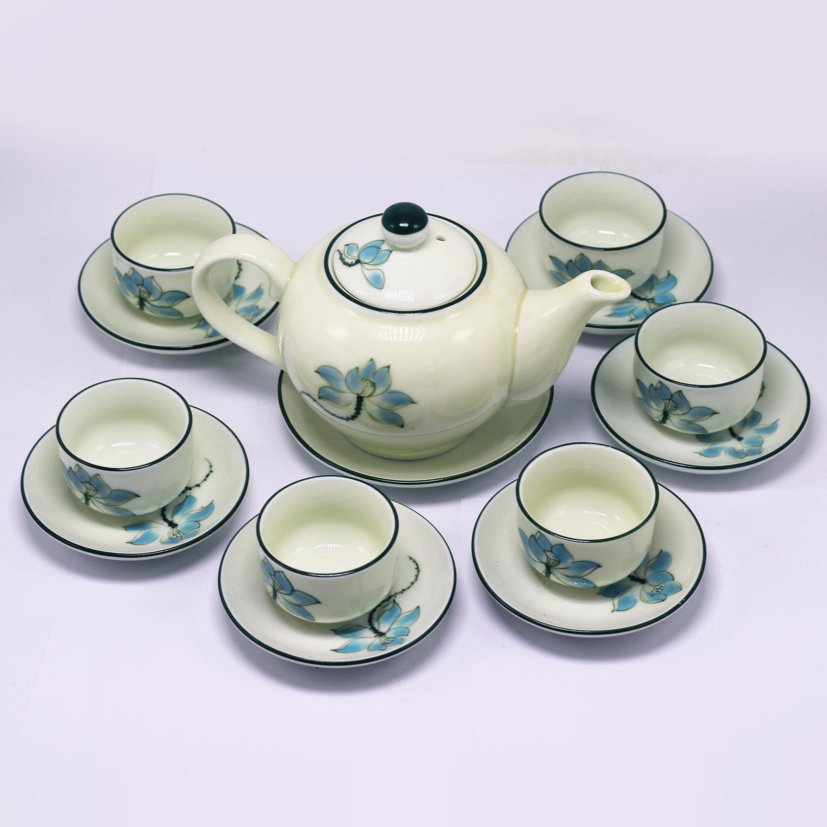 Bộ bình trà (ấm Chén) chữ C vẽ sen xanh MNV-TS526