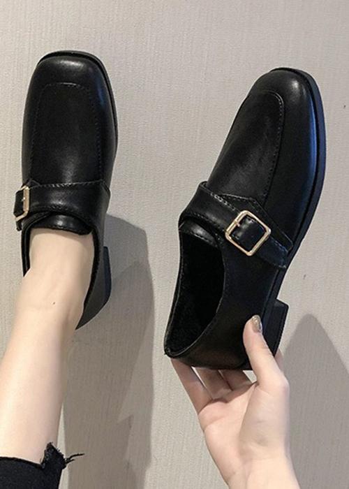 Giày Da Oxford Nữ  Nơ Dính - Màu Đen