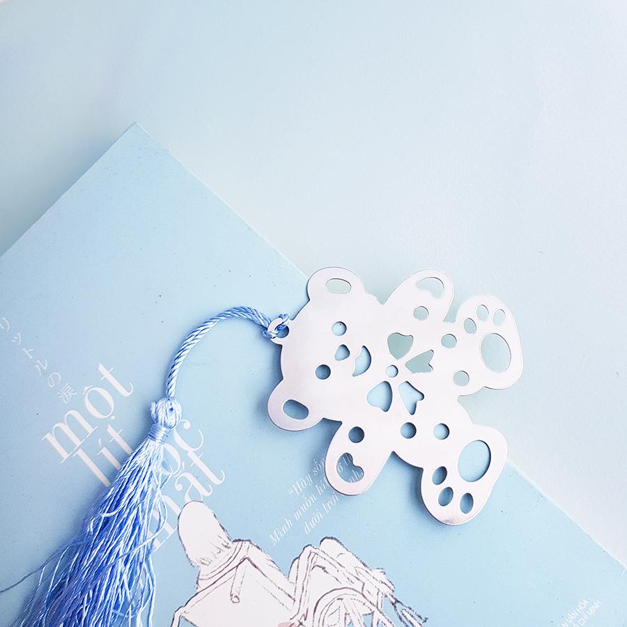 Bookmark Kim Loại Gấu Dây Xanh