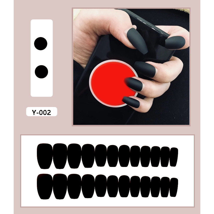 Bộ 24 móng tay màu đen (J-002) tặng kèm thun lò xo cột tóc màu đen tiện lợi