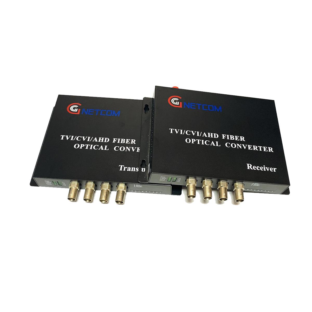 Bộ chuyển đổi Video sang quang 4 kênh GNETCOM HL-4V-20T/R-720P (2 thiết bị,2 adapter) - Hàng Chính Hãng