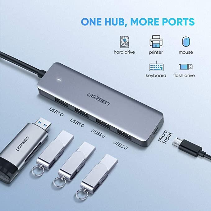 Bộ chuyển đổi USB Type-C sang Hub USB 3.0 4 cổng hỗ trợ cổng nguồn Micro USB 5V UGREEN CM164 70336 - Hàng chính hãng