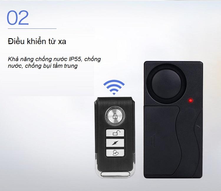 Báo động cảm biến rung có điều khiển từ xa V2 ( Tặng 02 nút giữ dây điện )