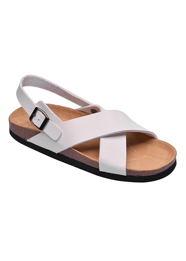 Giày Sandal Nữ Quai Chéo Trắng Đế Trấu HuuCuong 2153