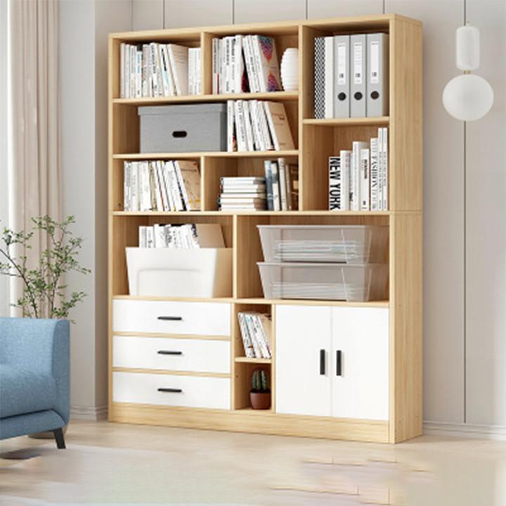 Tủ Sách Gỗ Nhiều Tầng 2 Ngăn Kéo 1m2 x 1m78 - Kệ Sách Đẹp Hiện Đại - Tủ Kệ Để Đồ Decor Trang Trí Nhà Đẹp