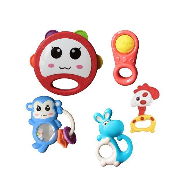Túi đồ chơi xúc xắc lục lạc cho bé set 5 món Toys House 776-1  giúp bé sơ sinh kích thích phát triển giác quan - tặng đồ chơi tắm màu ngẫu nhiên