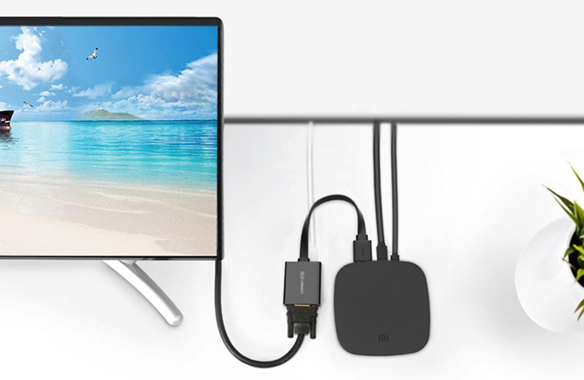 Bộ chuyển HDMI sang VGA + Audio có nguồn phụ UGREEN (Loại cáp dẹt) - Hàng Chính Hãng