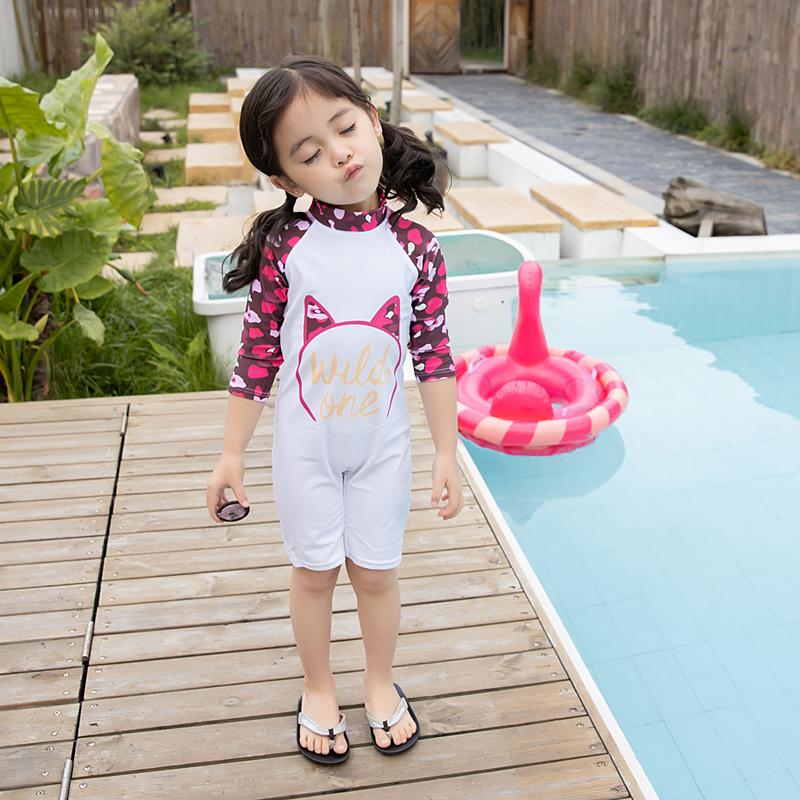 Bộ bơi liền thân kèm mũ Mèo bé gái 3-7 tuổi