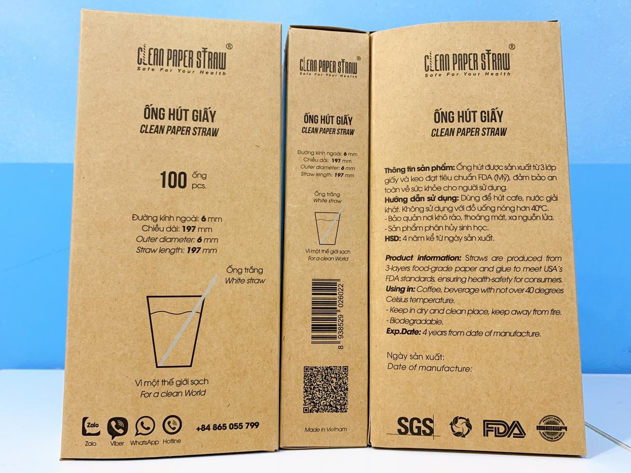 hộp 100 ống hút giấy cao cấp _ Clean Paper Straw -  màu trắng ( 6mm x 197mm)