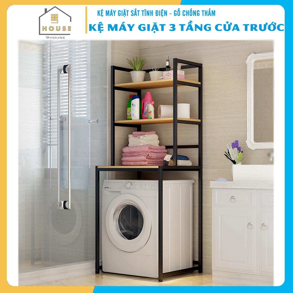 Kệ máy giặt 3 tầng cửa trước KMG01N thương hiệu 9House kệ để đồ trên máy giặt loại khung thép dày dặn sơn tĩnh điện chống bong tróc, gỗ lõi xanh phủ melamine chống nước cực bền, Sản xuất tại Việt Nam - Hàng chính hãng