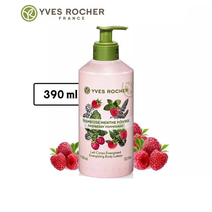 Combo Gel tắm Yves Rocher 400ml + Dưỡng thể Yves Rocher 390ml - Hương Mâm Xôi Đỏ Và Bạc Hà