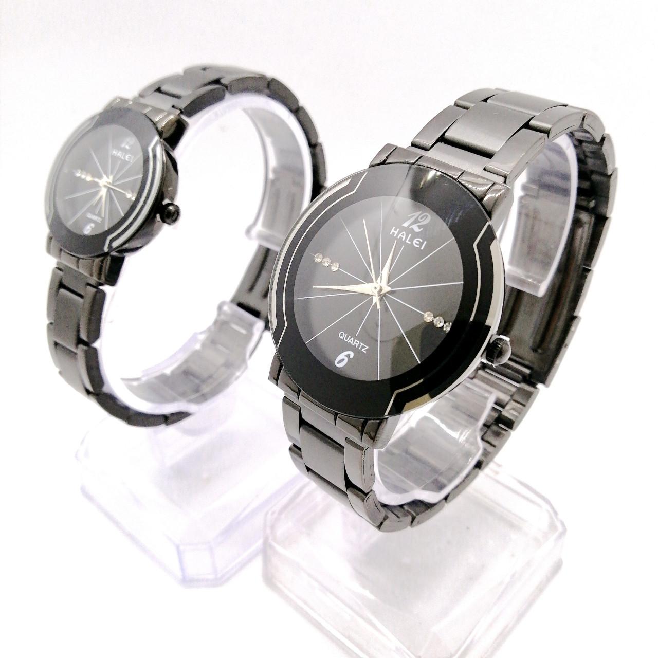 Cặp đồng hồ Nam Nữ Halei - HL457 FULL đen