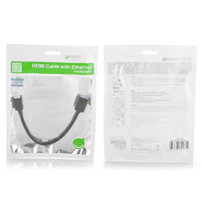 Cáp chuyển đổi mini HDMI đực sang HDMI cái dài 25CM UGREEN 20137 - Hàng Chính Hãng