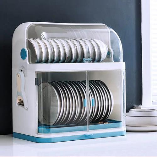 Giá đựng bát đĩa 2 tầng có nắp đậy tiện lợi.