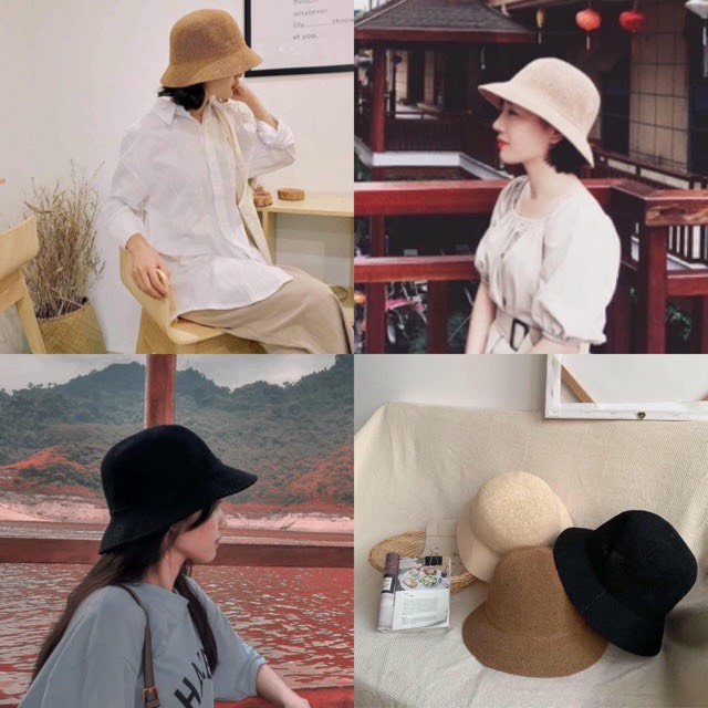 Mũ đi biển, nón cói thời trang đính chữ M chống nắng bảo vệ da MD13