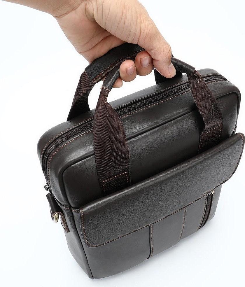 Túi đeo chéo nam da bò 100% cao cấp T15 túi đựng ipad 30.5x26x6cm (Nâu)