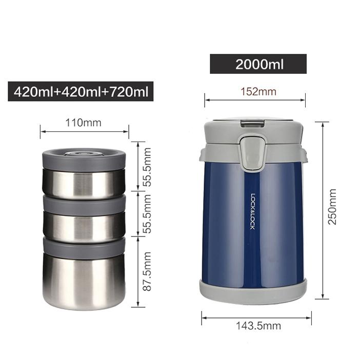 Bộ Hộp Cơm Giữ Nhiệt Lock&Lock Easy Carry 2L LHC8039 Có Túi (1 Hộp 720ml, 2 Hộp 420ml Kèm 1 Bộ Muỗng Và Nĩa)