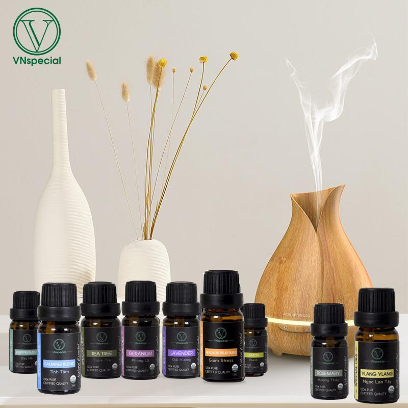 Máy Khuếch Tán Tinh Dầu Cổ Vân gỗ VNspecial, dung tích 550ml, tạo hương thơm, giữ ẩm,khử mùi - MUA 1 TẶNG 1