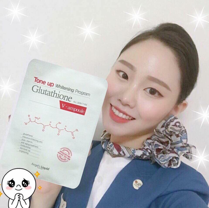 Combo 10 Mặt Nạ Dưỡng Trắng Sáng Da Angel's Liquid Tone Up Whitening Program Glutathione V-Ampoule Mask 25g x10