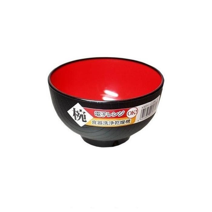 Combo 03 Bát ăn cơm Nakaya màu đen lòng đỏ - Nội địa Nhật Bản