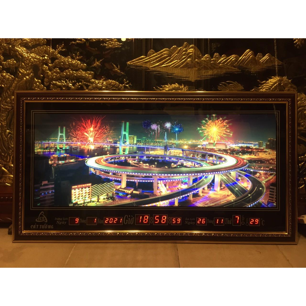 Tranh đồng hồ điện vạn niên, Phong cảnh thành phố có hiệu ứng đèn pháo hoa - 410