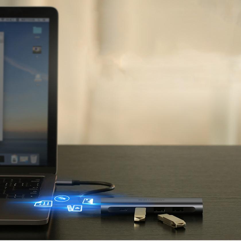 Bộ chuyển đổi USB type C sang HDMI + Hub USB 3.0 (3 cổng) chính hãng UGREEN CM136 50209 - Hàng nhập khẩu