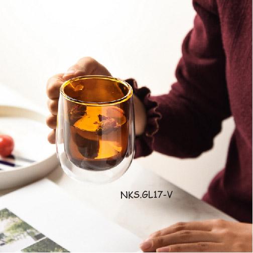 Ly thủy tinh 2 lớp NKS.GL17-V size 300ml chịu nhiệt