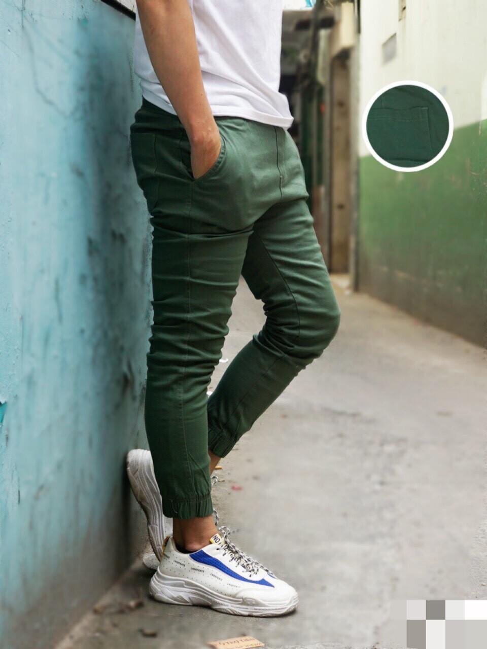 Quần Jogger Nam Cao Cấp - xanh rêu - 30