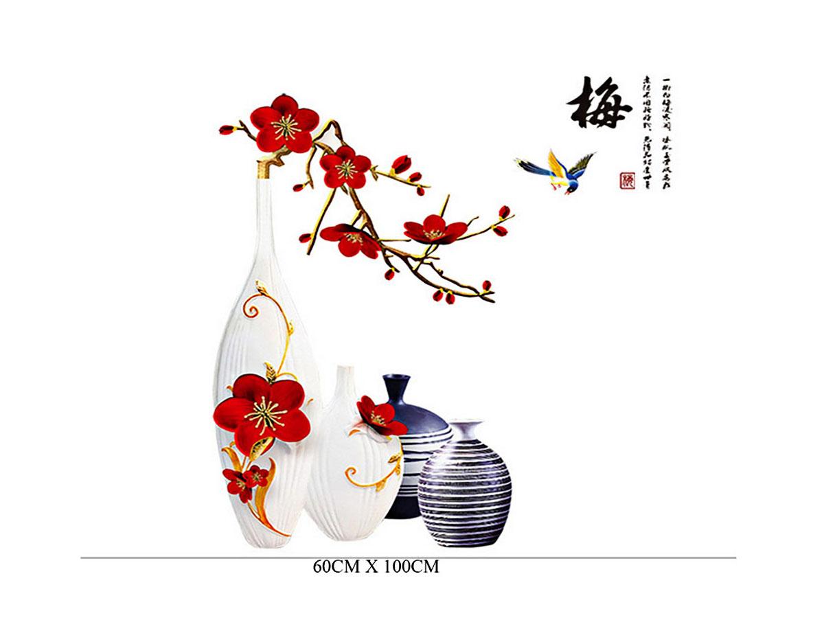decal dán tường bình trắng hoa đỏ gs9386