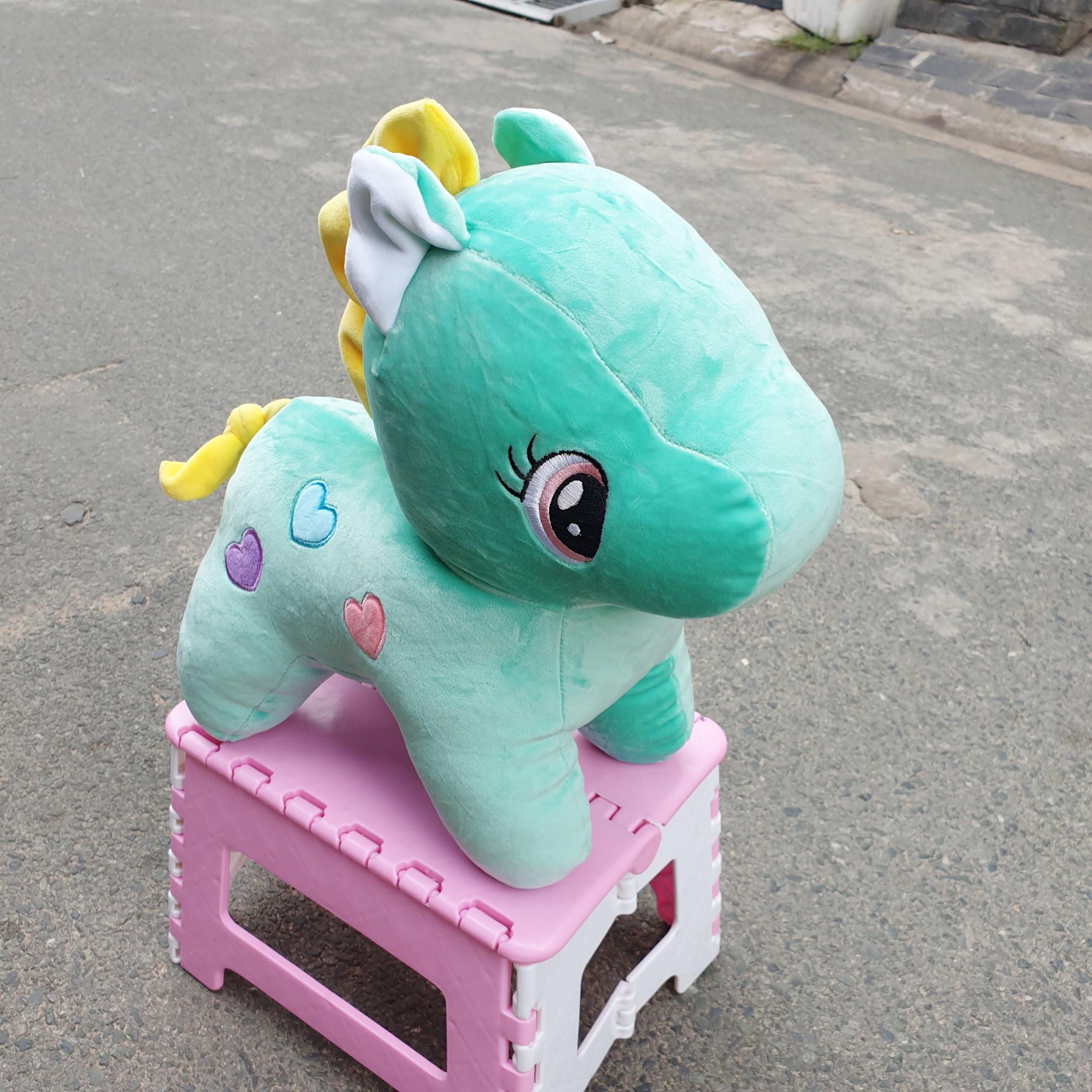 Ngựa Pony 4 chiều nhồi bông size 40cm màu xanh ngọc ( bờm màu bất kỳ )