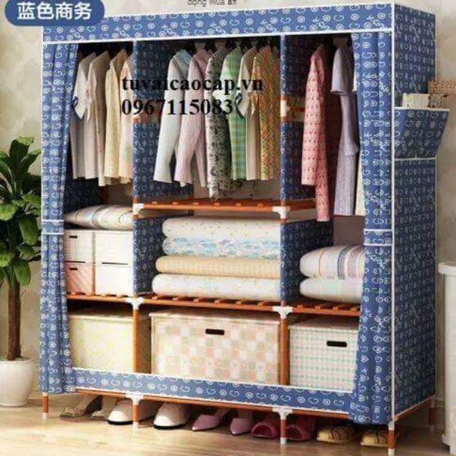 Tủ vải khung gỗ 3 buồng bọc nhựa
