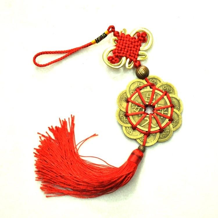 Chuỗi tiền xu hoa mai phát lộc 10 đồng nhỏ và 1 đồng đại dây tết đỏ vàng kèm 1 hạt kim loại trang trí CT09