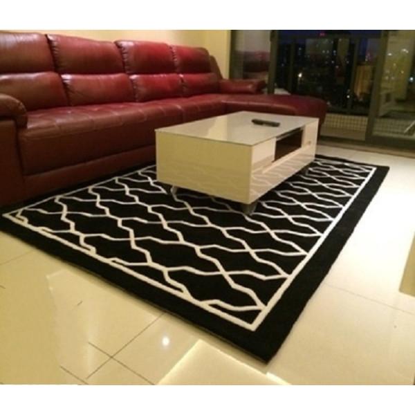 Thảm đen trải sàn sọc trắng to 140cm*200cm 7014L