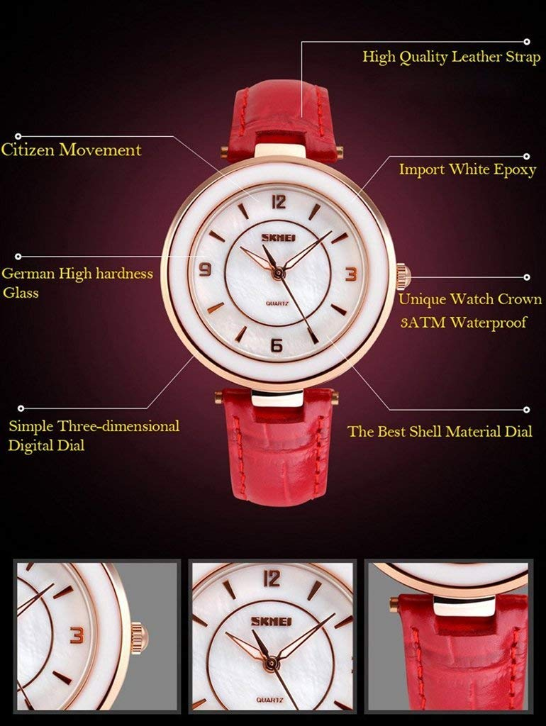 Đồng hồ nữ dây da Skmei 1059 (Đỏ)