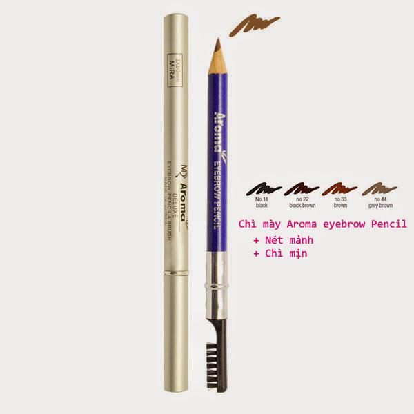 Chì vẽ mày sắc nét Aroma Eyebrow Pencil Hàn Quốc No.44 Gray Brown tặng kèm móc khoá