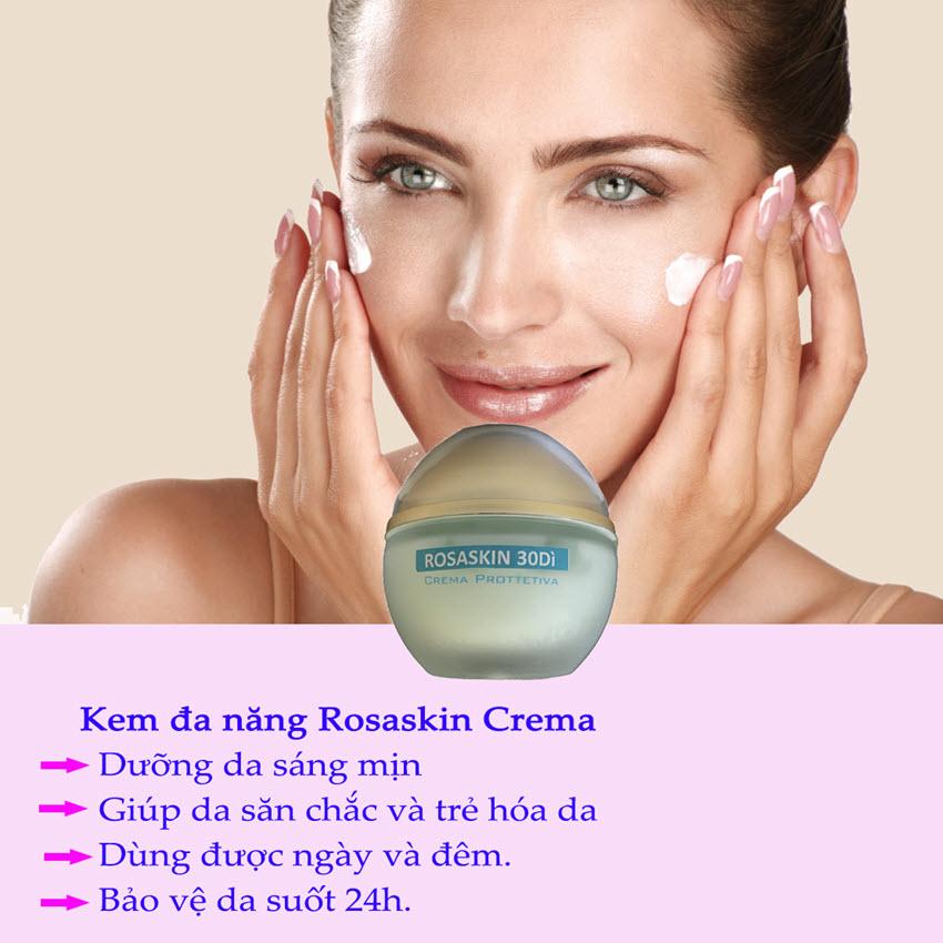 Kem đa năng chăm sóc và phục hồi da mặt bị lão hóa mụn thâm nám EuDERME Rosaskin 30Di Protective Cream 24h, Italy