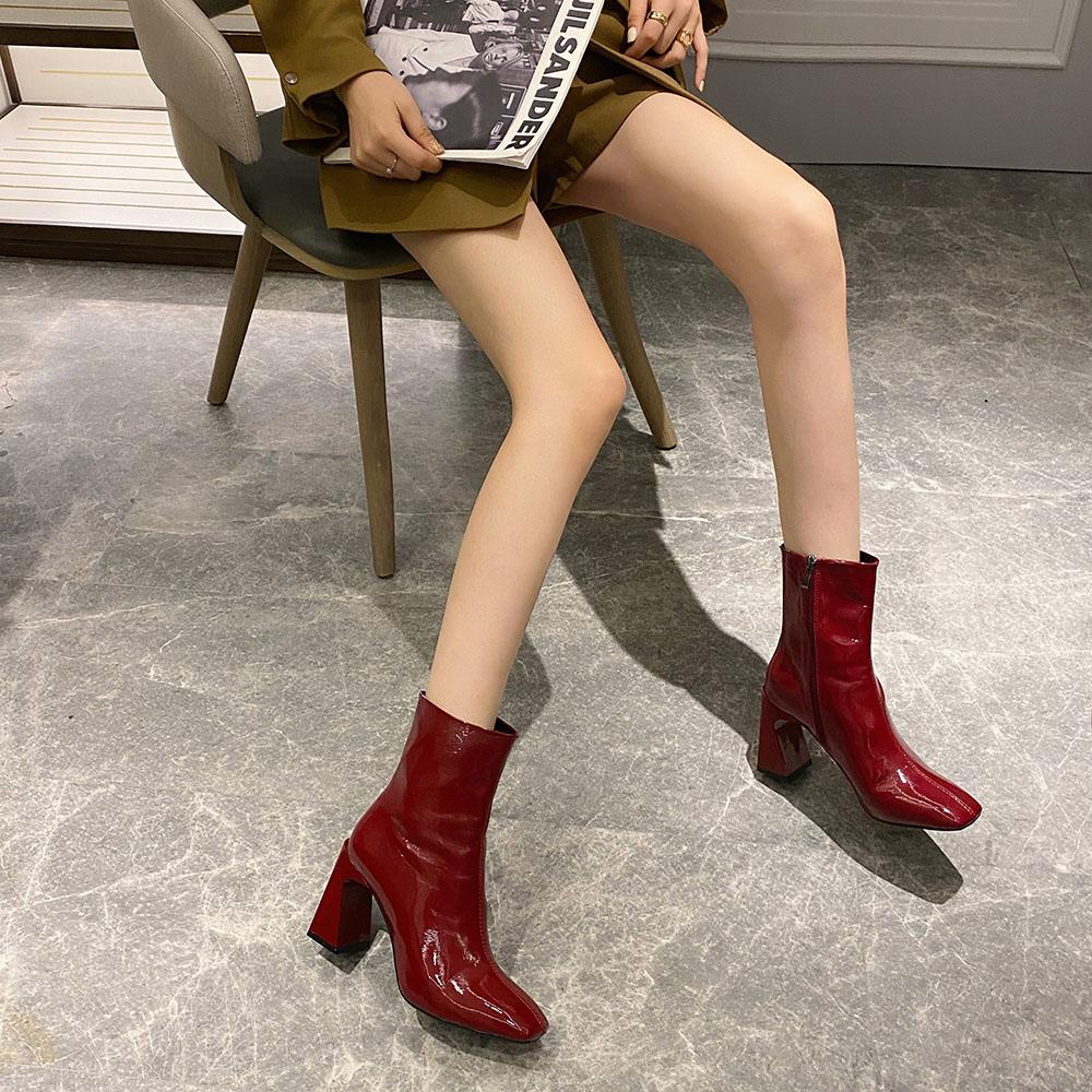 Bốt/Boots Nữ Dáng Lửng Da Bóng Gót VÁT 7p  Siêu Sang (Mã F -2) Kèm Tất/Vớ Da Chân