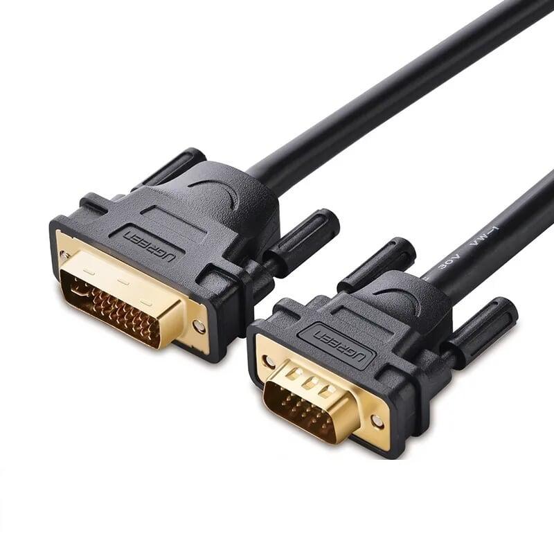 Cáp chuyển đổi DVI 24+5 dương sang Vga dương dài 1m màu đen UGREEN 30741DV102 Hàng chính hãng