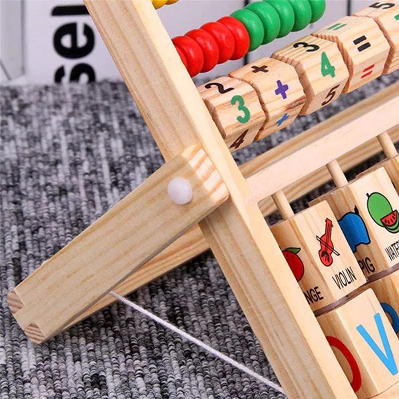 [Tặng Đàn Xylophone 4 Thanh] Đồ Chơi Kệ Gỗ Đa Năng Cho Bé Học Tính Toán Học Chữ Và Xem Giờ