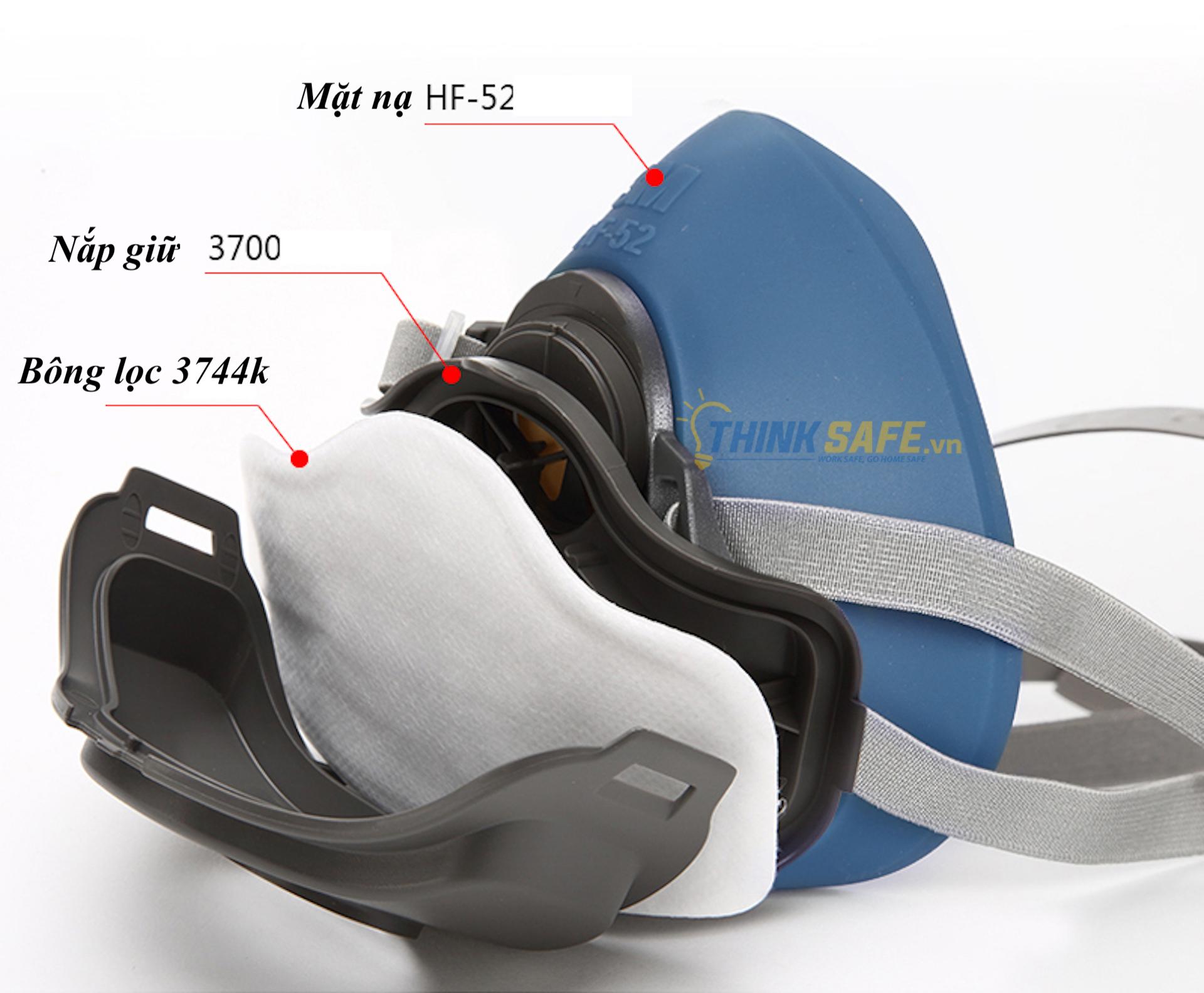 Mặt nạ phòng độc 3M HF52 kèm 10 tấm lọc 3744K, mặt nạ lọc bụi, lọc hơi/khí độc (HF52-3744K/10-3700)