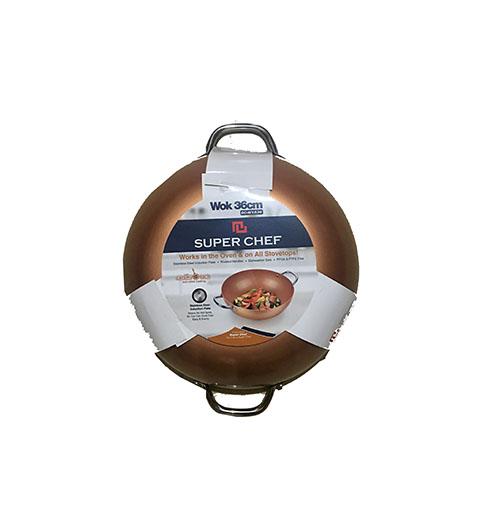 Chảo  xào SUPER CHEF h.kim tráng men đáy từ 36cm SC_W1536