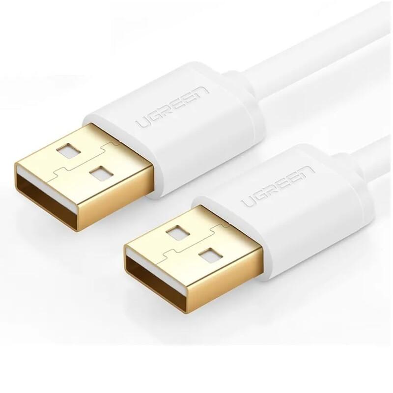 Cáp tín hiệu USB 2.0 2 đầu đực đầu mạ vàng 24k dài 0.25M màu trắng UGREEN USB30130Us102 Hàng chính hãng