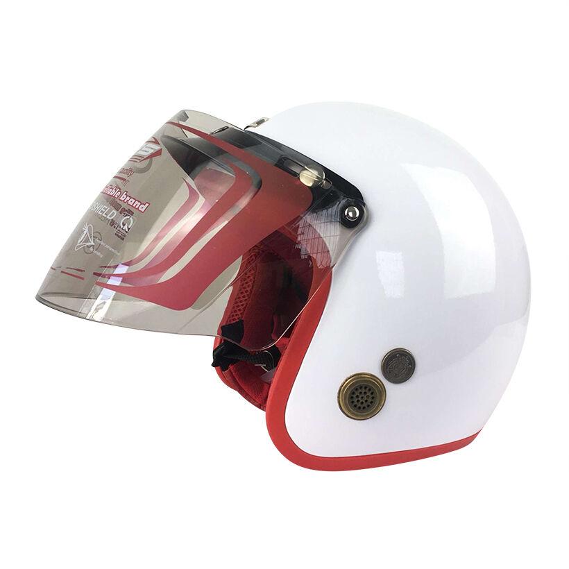 Mũ Bảo Hiểm Đẹp 3/4 lót màu Trắng lót đỏ N033 có kính _ Nón bảo hiểm phượt có kính chắn gió, chống bụi_ Kèm kính màu ngẫu nhiên