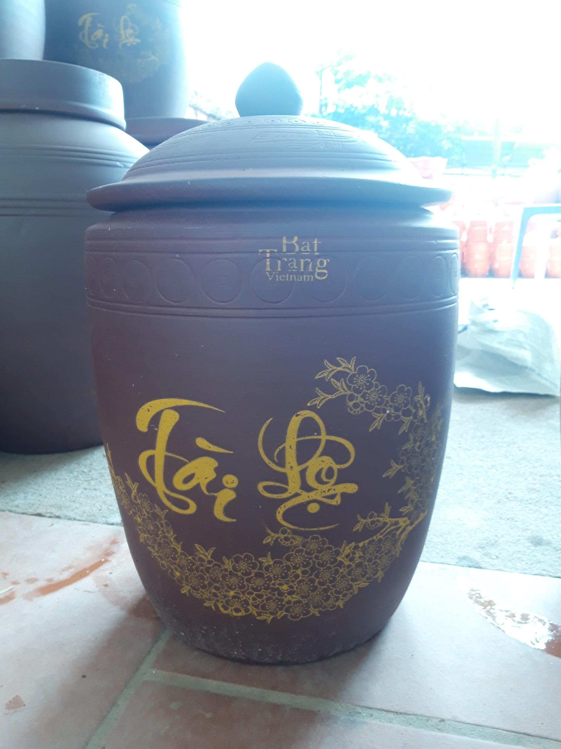 Hũ đựng gạo gốm sứ Bát Tràng loại 10Kg