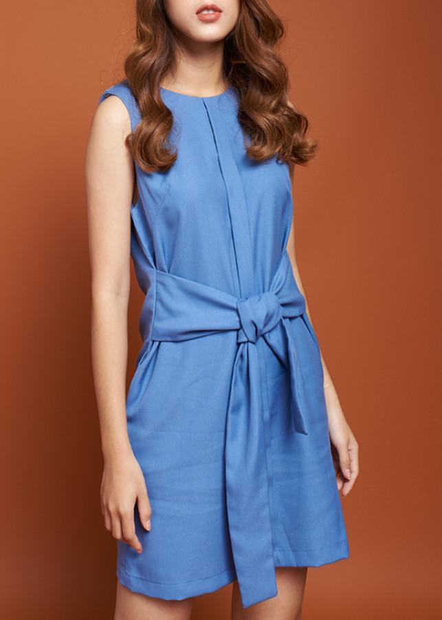 Đầm Nữ Suông Phối Thắt Nơ Mint Basic 21451Bl - Xanh Da Trời Size M