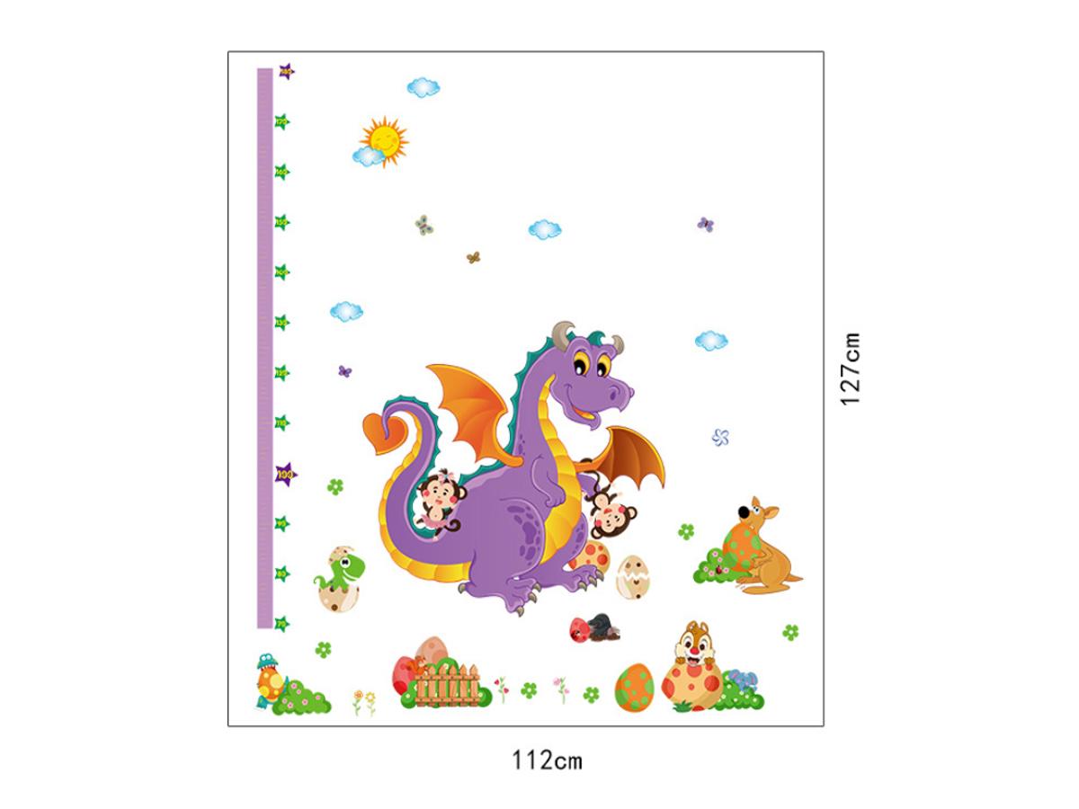 decal dán tường thước đo khủng long sk9101