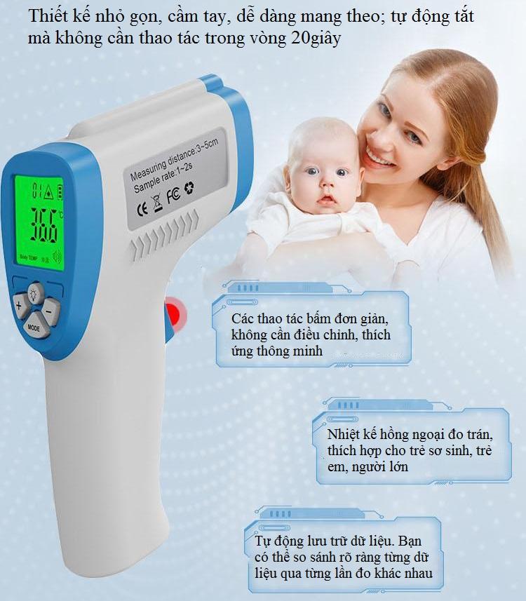 Nhiệt Kế Hồng Ngoại Đo Trán Cao Cấp DT-8806C ( ĐO NHIỆT ĐỘ CƠ THỂ, ĐO CẢ NHIỆT ĐỘ MÔI TRƯỜNG ) - Tặng 01 đồng hồ đo nhiệt độ trong phòng cao cấp C1